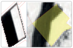 Two examples of change detections inside of agricultural parcels based on NDVI standard deviation (two crops on left side, a new road on the right side)